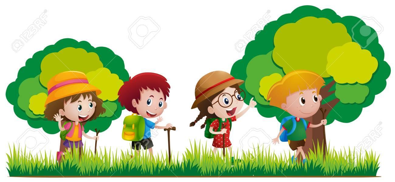 78195606 enfants de randonnee dans l illustration de la foret