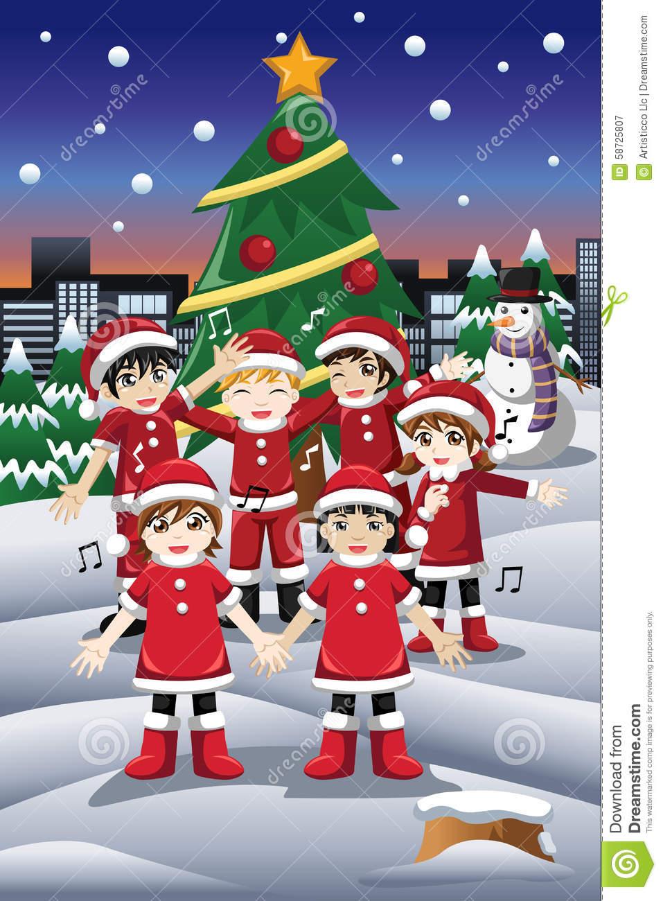 Enfants chantant des chants de noel 58725807