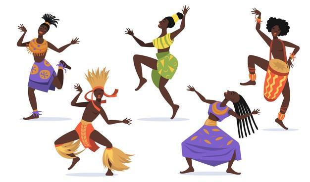 Ensemble plat danseuses africaines pour conception web autochtones dessin anime dansent collection illustration vectorielle isolee danse folklorique rituelle concept danse tribale